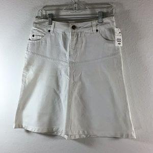 H&M White A-Line Denim Skirt Size 6 NEW